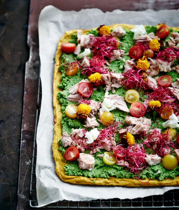 Sund grøn pizza